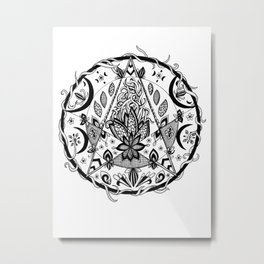 Crescent Moon Pentacle Metal Print