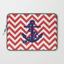 Blue Anchor on Red and White Chevron Pattern Laptop Sleeve