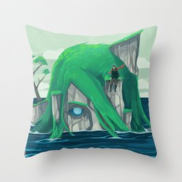 The wanderer and the ancient island Throw Pillow