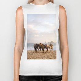 Horses on the beach Biker Tank