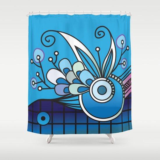 Ornate square zentangle, Ultramarine Blue Shower Curtain