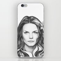 house md iPhone & iPod Skins featuring Dr. Cameron-House MD-Jennifer Morrison-Portrait by Olechka