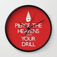 gurren lagann Wall Clocks featuring Pierce The Heavens With Your Drill by 5eth