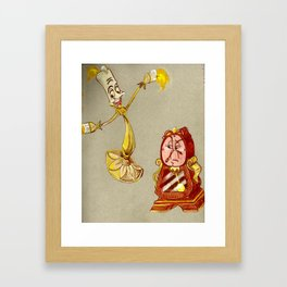 Lumiere and Cogsworth Drawing Framed Art Print