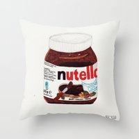 nutella Throw Pillows featuring Nutella by Angela Dalinger