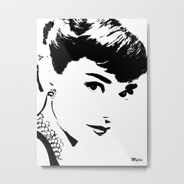 Audrey Simply Beautiful in Black and white Metal Print