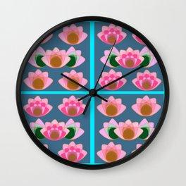 Pink lotus field Wall Clock