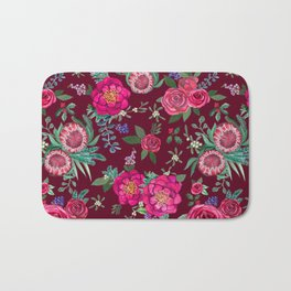 Burgundy Floral Thanksgiving , fall & winter floral in watercolor Bath Mat
