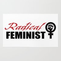 feminist Area & Throw Rugs featuring Radical Feminist by People Matter Creative