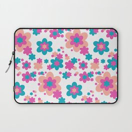 Teal Blue, Hot Pink, and Coral Floral Laptop Sleeve