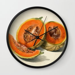 Vintage Vector Style Thanksgiving Pumpkin Slices  Wall Clock