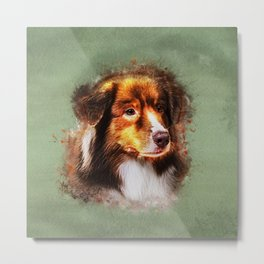 Australian Shepherd  Aussie Watercolor Digital Art Metal Print