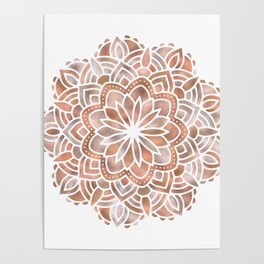Mandala Rose Gold Flower Poster