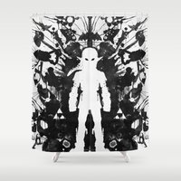 psychology Shower Curtains featuring Ink Blot Link Kleptomania Geek Disorders Series by Barrett Biggers