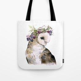Flower Crowned Barn Owl Tote Bag