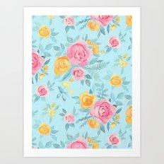 Chalk Pastel Pink & Orange Roses on Sky Blue Art Print