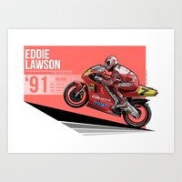 nan lawson Art Prints featuring Eddie Lawson - 1991 Misano by Evan DeCiren