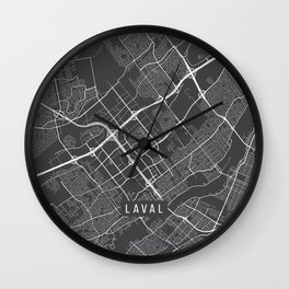 Laval Map, Canada - Gray Wall Clock