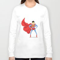 superman Long Sleeve T-shirts featuring Superman by Bastonmag