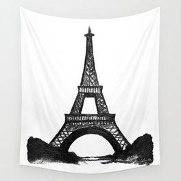 Eiffel Tower in Black Wall Tapestry