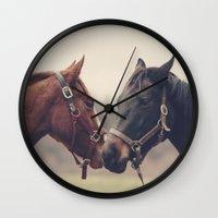 horses Wall Clocks featuring Horses  by Laura Ruth