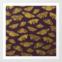 Golden Moths in Purple Art Print