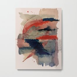 Independent: a red and blue abstract watercolor Metal Print