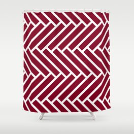 Dark red and white herringbone pattern Shower Curtain