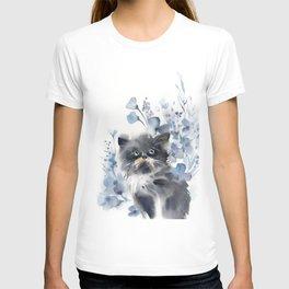 Kitten and blue florals T-shirt