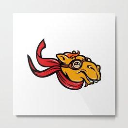 Bactrian Camel Aviator Mascot Metal Print