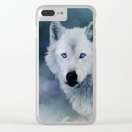 White Wolf Winter Clear iPhone Case