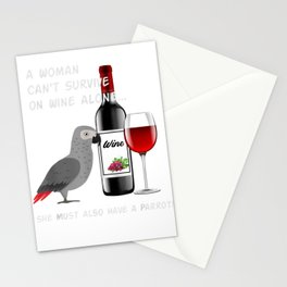 African Grey Parrot Wine Loving Drinking T-shirt for women Stationery Cards