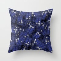 doctor Throw Pillows featuring Tardis by 10813 Apparel