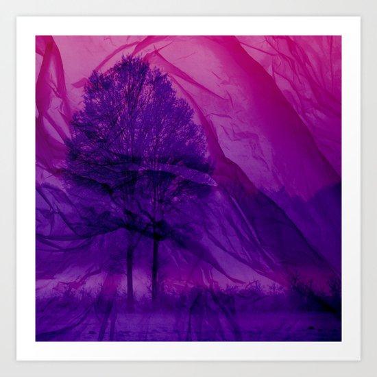 Winter through Pink Chiffon Art Print