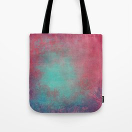 Grunge Garden Canvas Texture:  Pink and Turquoise Ornate Tote Bag