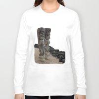 hawaiian Long Sleeve T-shirts featuring Hawaiian Tikis by Moody Muse