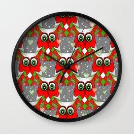 Festive Owl Wall Clock