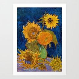 Six Sunflowers in Vase still life portrait painting by Vincent van Gogh Art Print