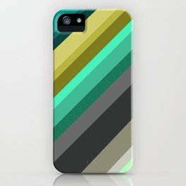 green brown yellow grey stripes iPhone Case