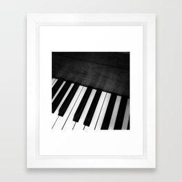 Black and White Piano Framed Art Print
