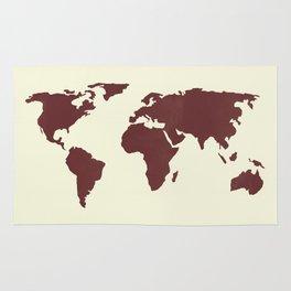 World Map -  Crimson Red on Cream Linen Rug