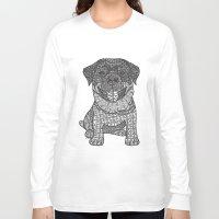 rottweiler Long Sleeve T-shirts featuring Courageous- Rottweiler by DiAnne Ferrer