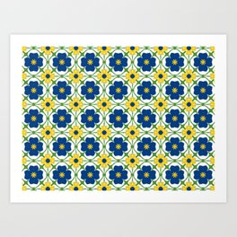 Blue and yellow vine flowers on white Art Print