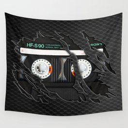 Retro classic vintage Black cassette tape Wall Tapestry
