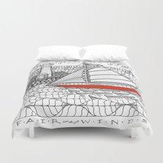 Sailors Dream Fair Winds Sailboat Zentangle Duvet Cover