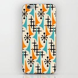 Mid Century Modern Atomic Wing Composition Orange & Blue iPhone Skin
