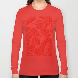 Tropical Hibiscus and Palm Leaves Dark Coral White Long Sleeve T-shirt