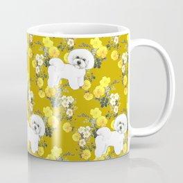 Bichon Frise on Yellow Rose Floral Autumn Gold Coffee Mug