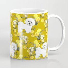 Bichon Frise on Yellow Rose Floral Autumn Gold Coffee Mug