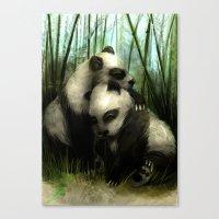 pandas Canvas Prints featuring Pandas by Gilthonniel's Shop